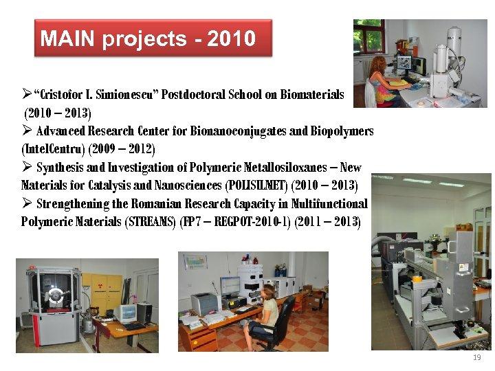 "MAIN projects - 2010 Ø""Cristofor I. Simionescu"" Postdoctoral School on Biomaterials (2010 – 2013)"