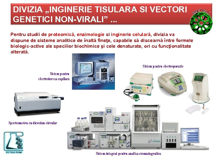 """DIVIZIA """"INGINERIE TISULARA SI VECTORI GENETICI NON-VIRALI"""". . . Pentru studii de proteomică, enzimologie"""
