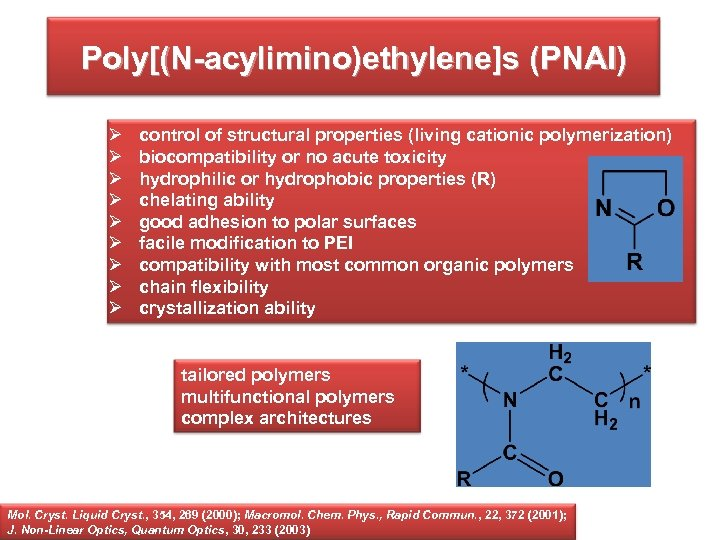 Poly[(N-acylimino)ethylene]s (PNAI) Ø Ø Ø Ø Ø control of structural properties (living cationic polymerization)