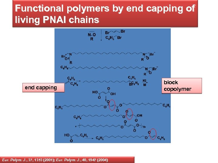Functional polymers by end capping of living PNAI chains end capping Eur. Polym. J.