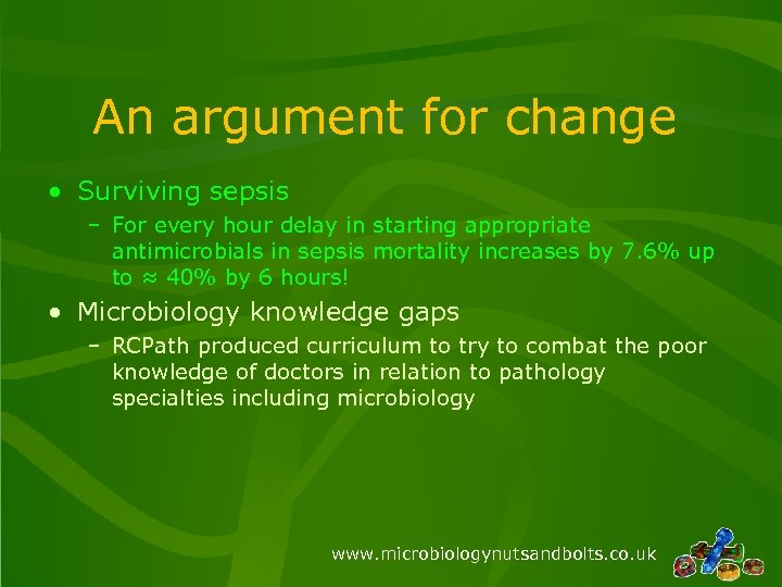 An argument for change • Surviving sepsis – For every hour delay in starting