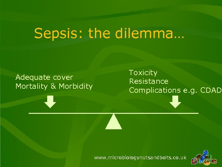 Sepsis: the dilemma… Adequate cover Mortality & Morbidity Toxicity Resistance Complications e. g. CDAD