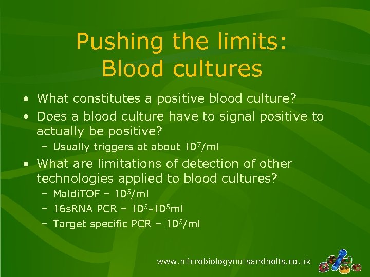 Pushing the limits: Blood cultures • What constitutes a positive blood culture? • Does