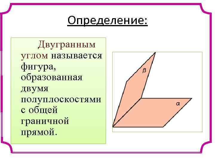 Определение: Двугранным углом называется фигура, образованная двумя полуплоскостями с общей граничной прямой.