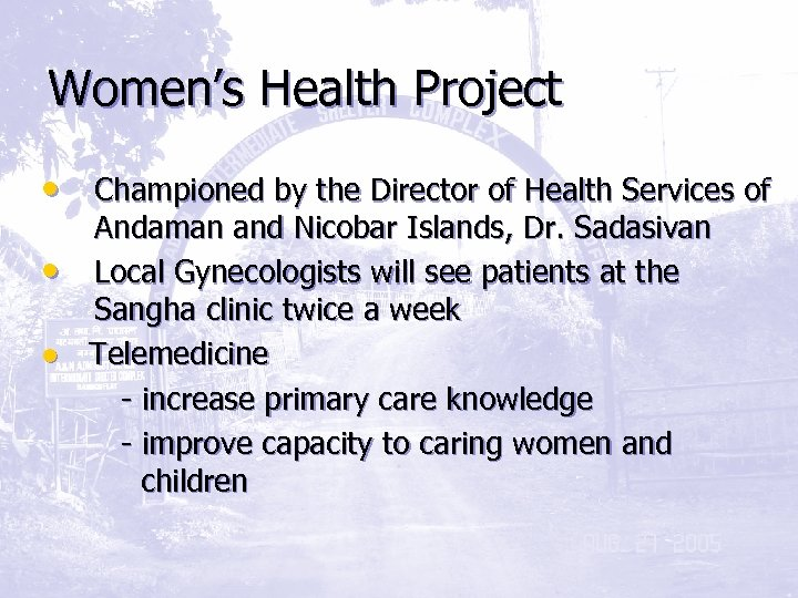 Women's Health Project • Championed by the Director of Health Services of Andaman and