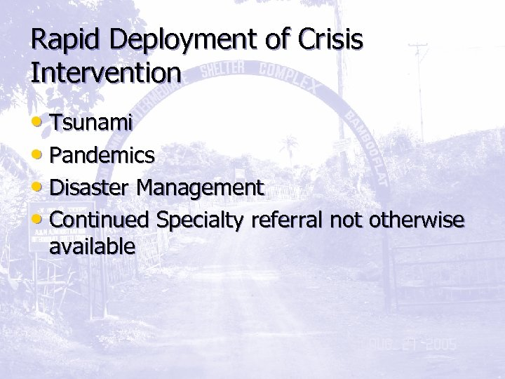 Rapid Deployment of Crisis Intervention • Tsunami • Pandemics • Disaster Management • Continued