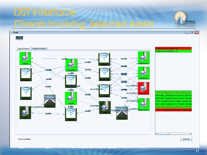 DST interface (Threats Involving Selected Asset) 41