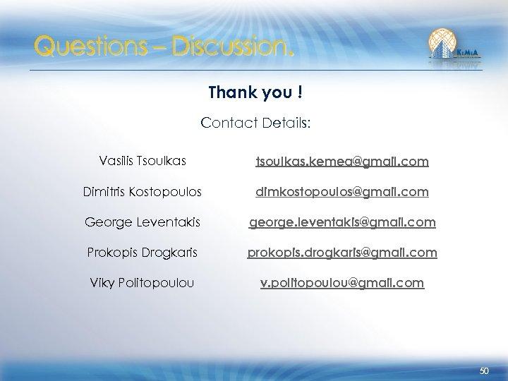 Questions – Discussion. Thank you ! Contact Details: Vasilis Tsoulkas tsoulkas. kemea@gmail. com Dimitris