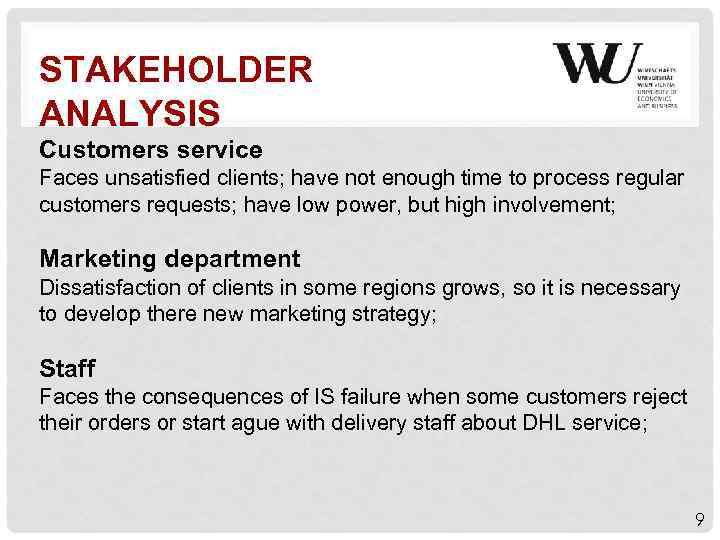 STAKEHOLDER ANALYSIS Customers service Faces unsatisfied clients; have not enough time to process regular