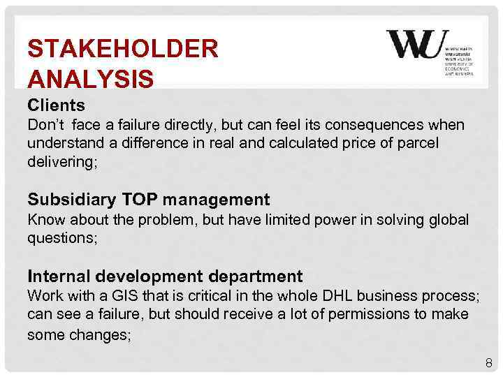 STAKEHOLDER ANALYSIS Clients Don't face a failure directly, but can feel its consequences when