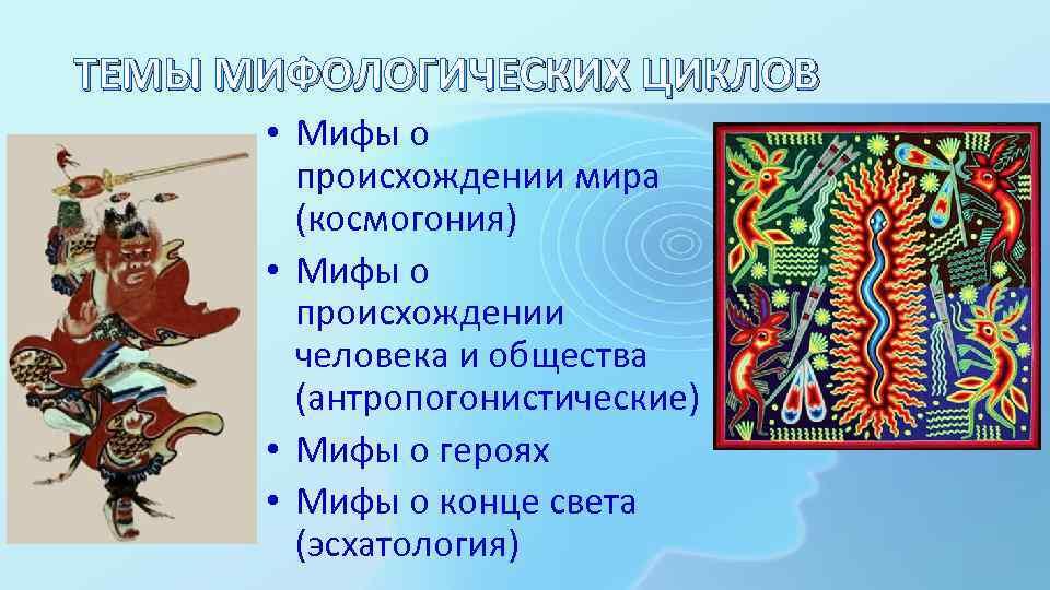 ТЕМЫ МИФОЛОГИЧЕСКИХ ЦИКЛОВ • Мифы о происхождении мира (космогония) • Мифы о происхождении человека