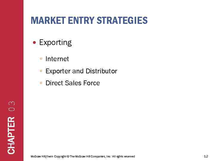 MARKET ENTRY STRATEGIES Exporting ◦ Internet ◦ Exporter and Distributor CHAPTER 03 ◦ Direct