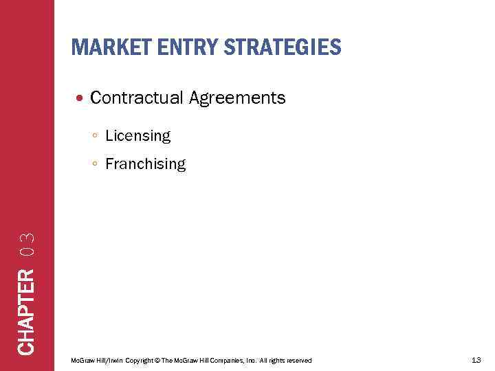 MARKET ENTRY STRATEGIES Contractual Agreements ◦ Licensing CHAPTER 03 ◦ Franchising Mc. Graw Hill/Irwin