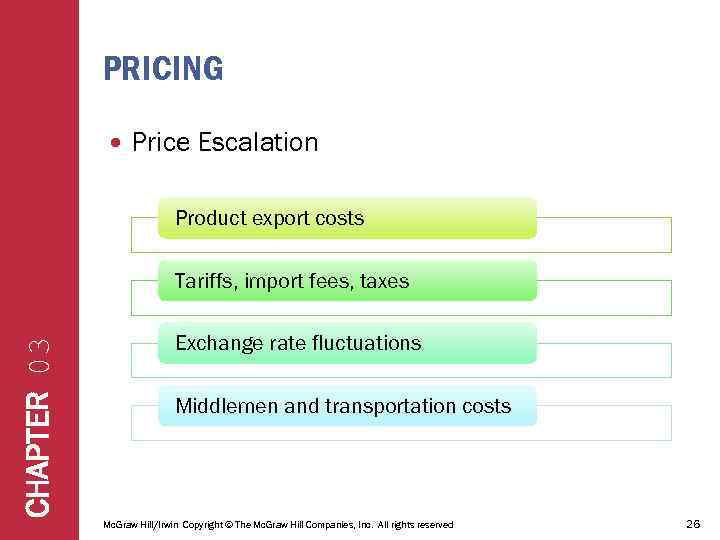 PRICING Price Escalation Product export costs CHAPTER 03 Tariffs, import fees, taxes Exchange rate