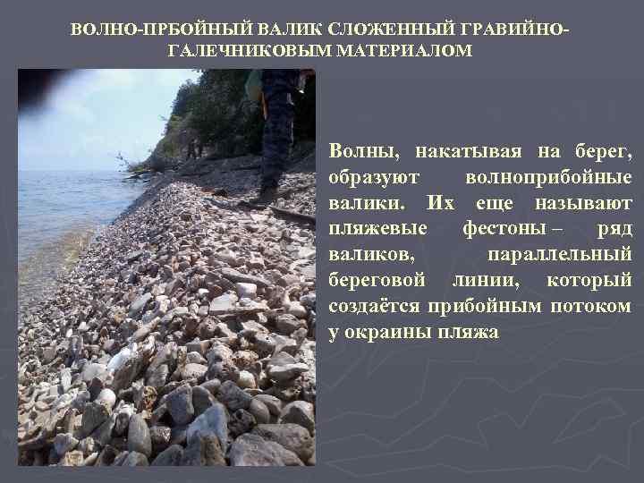 ВОЛНО-ПРБОЙНЫЙ ВАЛИК СЛОЖЕННЫЙ ГРАВИЙНОГАЛЕЧНИКОВЫМ МАТЕРИАЛОМ Волны, накатывая на берег, образуют волноприбойные валики. Их еще