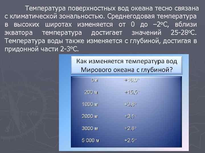 Температура поверхностных вод океана тесно связана с климатической зональностью. Среднегодовая температура в высоких широтах
