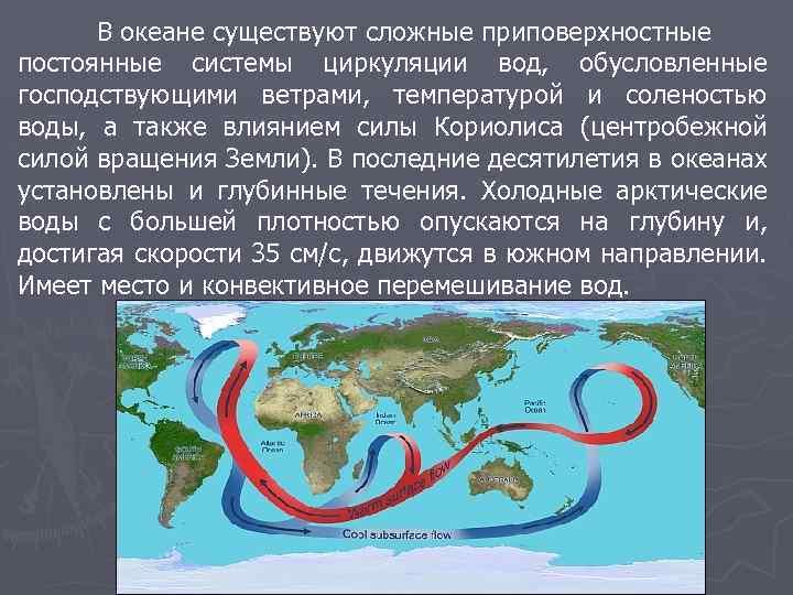 В океане существуют сложные приповерхностные постоянные системы циркуляции вод, обусловленные господствующими ветрами, температурой и