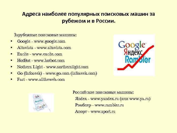 Адреса наиболее популярных поисковых машин за рубежом и в России. • • Зарубежные поисковые