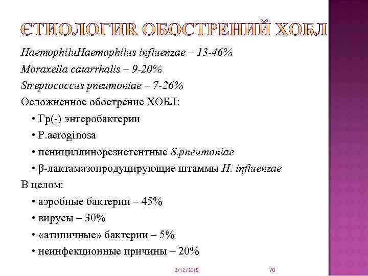 Haemophilus influenzae – 13 -46% Moraxella сatarrhalis – 9 -20% Streptococcus pneumoniae – 7