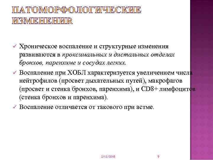 ü ü ü Хроническое воспаление и структурные изменения развиваются в проксимальных и дистальных отделах