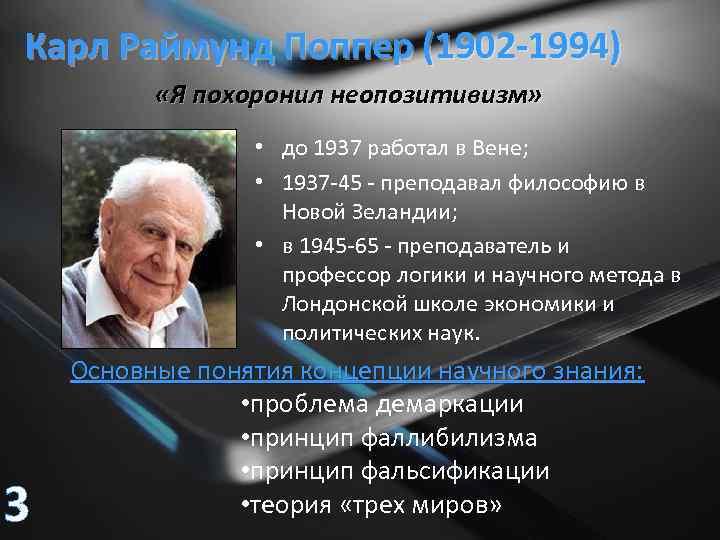 Карл Раймунд Поппер (1902 -1994) «Я похоронил неопозитивизм» • до 1937 работал в Вене;