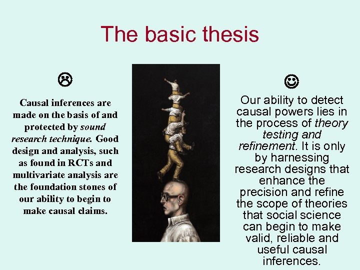The basic thesis Causal inferences are made on the basis of and protected by