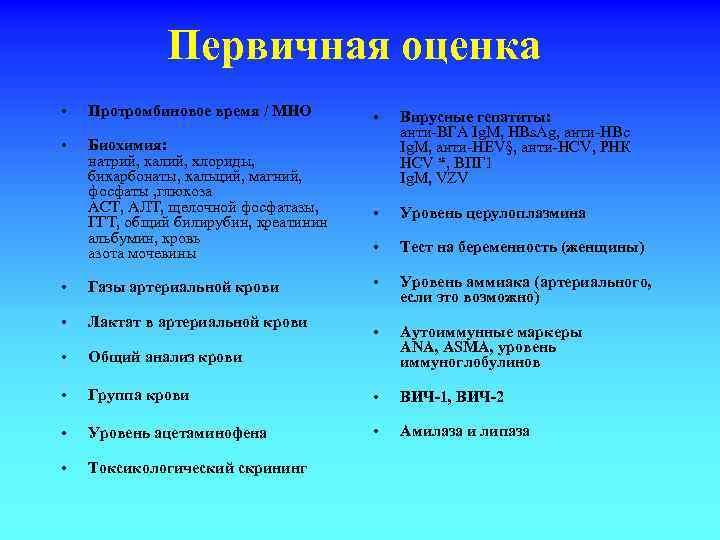 Первичная оценка • Протромбиновое время / МНО • Биохимия: натрий, калий, хлориды, бикарбонаты, кальций,