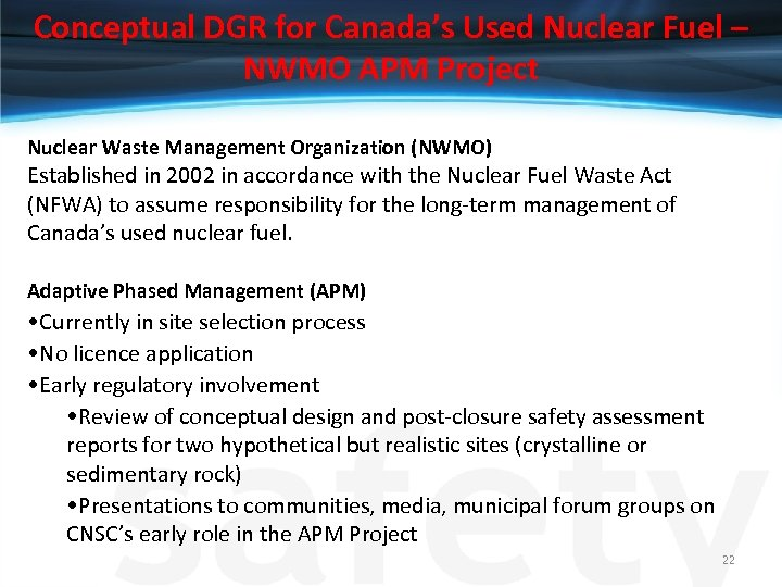 Conceptual DGR for Canada's Used Nuclear Fuel – NWMO APM Project Nuclear Waste Management