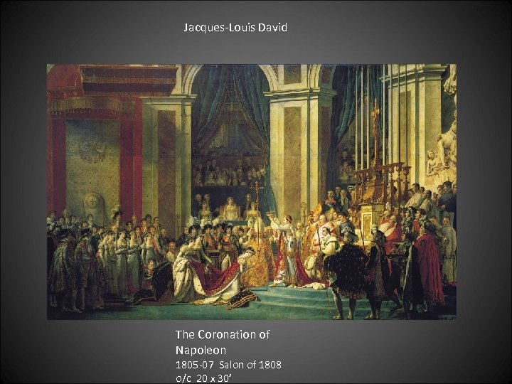 Jacques-Louis David The Coronation of Napoleon 1805 -07 Salon of 1808 o/c 20 x