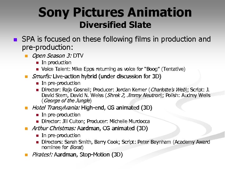 Sony Pictures Animation Diversified Slate n SPA is focused on these following films in
