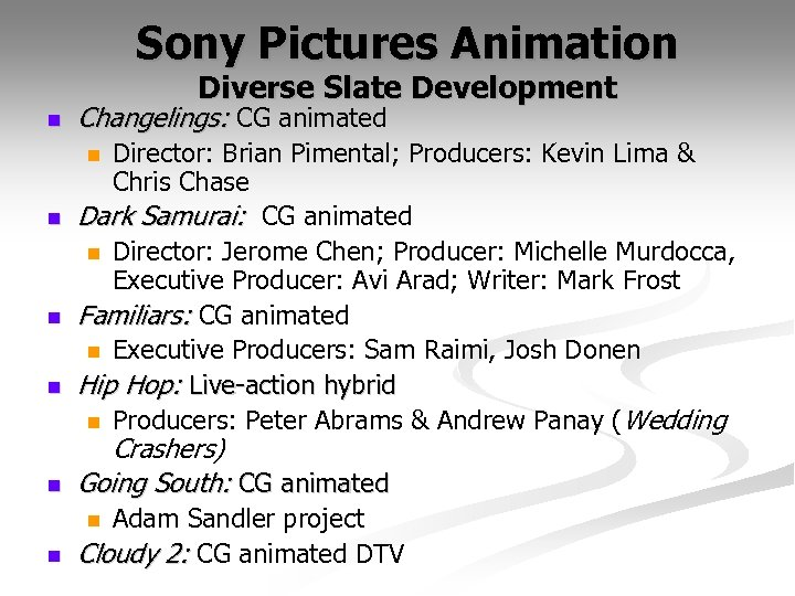 Sony Pictures Animation Diverse Slate Development n Changelings: CG animated Director: Brian Pimental; Producers:
