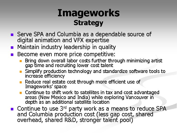 Imageworks Strategy n n n Serve SPA and Columbia as a dependable source of