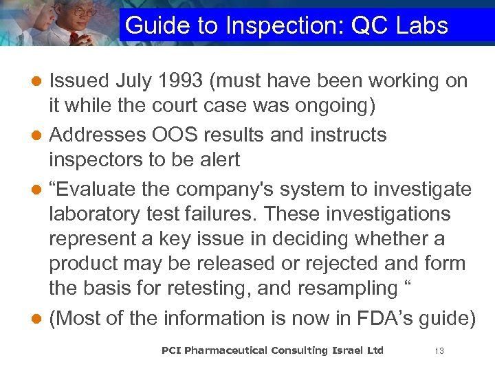 Guide to Inspection: QC Labs Issued July 1993 (must have been working on it