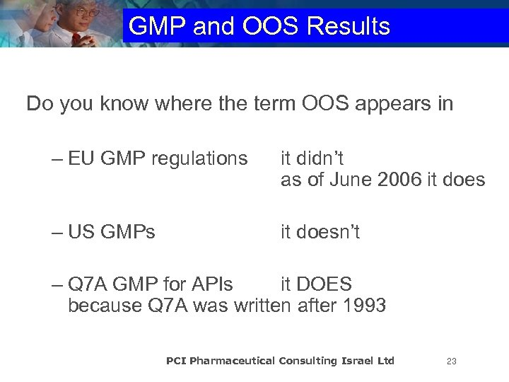 GMP and OOS Results Do you know where the term OOS appears in –