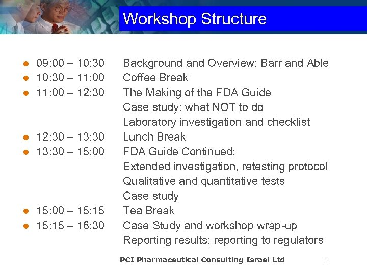 Workshop Structure 09: 00 – 10: 30 l 10: 30 – 11: 00 l