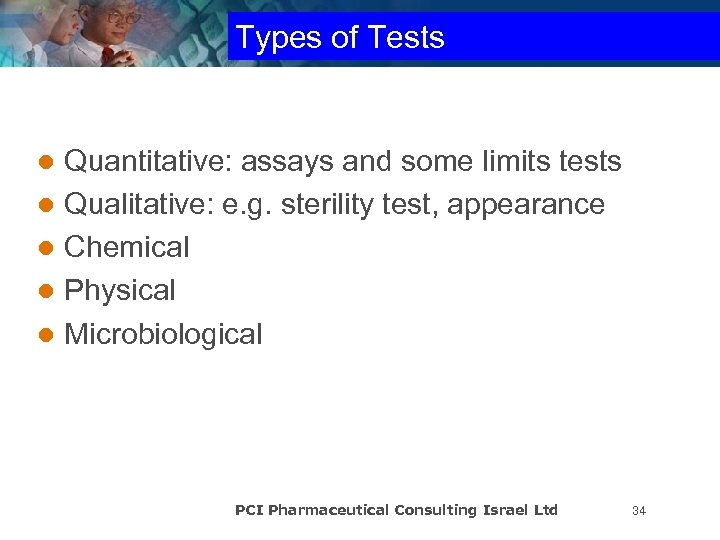 Types of Tests Quantitative: assays and some limits tests l Qualitative: e. g. sterility