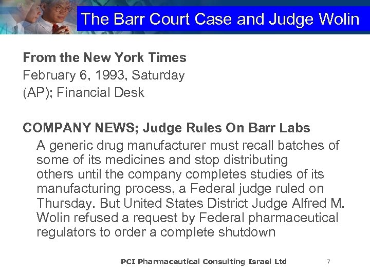 The Barr Court Case and Judge Wolin From the New York Times February 6,