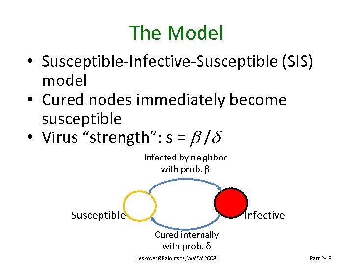 The Model • Susceptible-Infective-Susceptible (SIS) model • Cured nodes immediately become susceptible • Virus