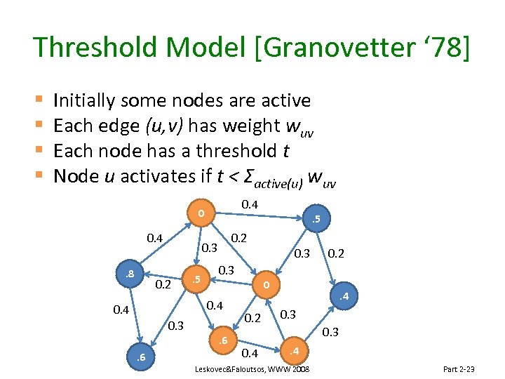 Threshold Model [Granovetter ' 78] § § Initially some nodes are active Each edge