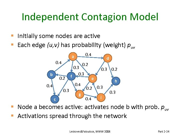 Independent Contagion Model § Initially some nodes are active § Each edge (u, v)