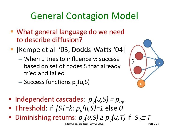 General Contagion Model § What general language do we need to describe diffusion? §
