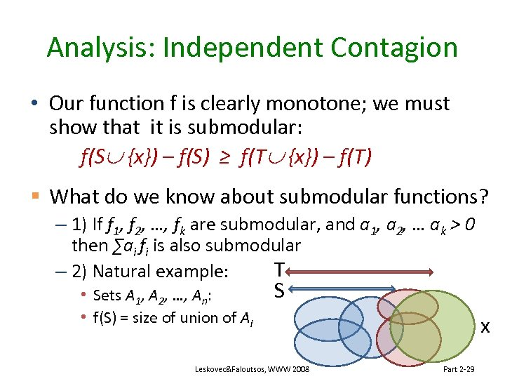 Analysis: Independent Contagion • Our function f is clearly monotone; we must show that