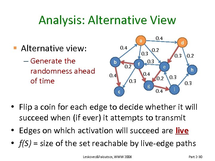 Analysis: Alternative View § Alternative view: – Generate the randomness ahead of time a