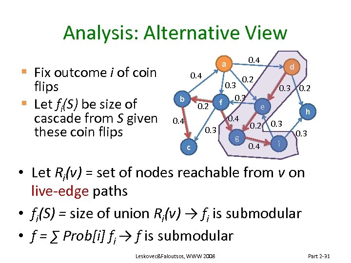 Analysis: Alternative View § Fix outcome i of coin flips § Let fi(S) be