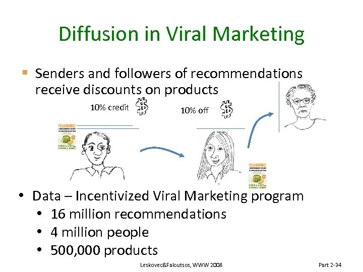 Diffusion in Viral Marketing § Senders and followers of recommendations receive discounts on products