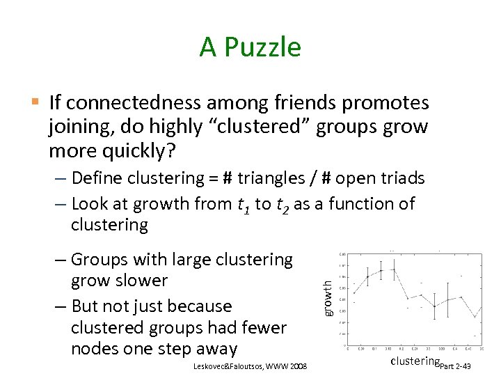 "A Puzzle § If connectedness among friends promotes joining, do highly ""clustered"" groups grow"