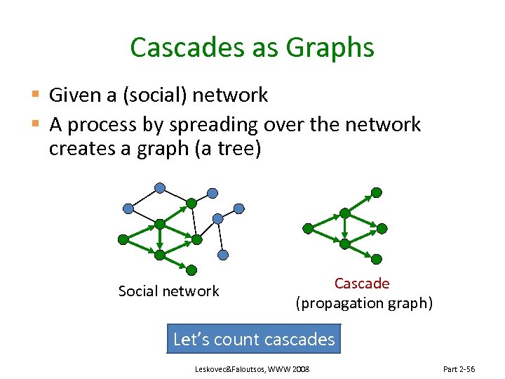 Cascades as Graphs § Given a (social) network § A process by spreading over