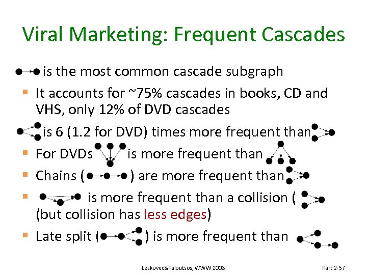Viral Marketing: Frequent Cascades § § § is the most common cascade subgraph It