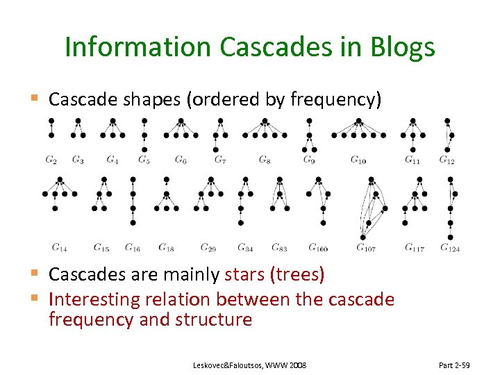 Information Cascades in Blogs § Cascade shapes (ordered by frequency) § Cascades are mainly