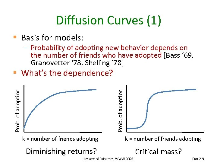 Diffusion Curves (1) § Basis for models: – Probability of adopting new behavior depends